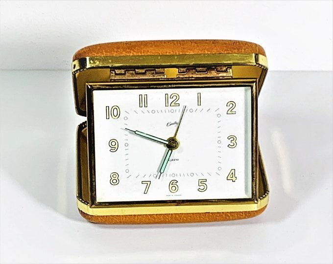 "Vintage Bradley Germany Wind-Up Travel Alarm Clock, Tan Leather Hard Folding Case, Serviced, 4"" W. 3"" L. Free US Shipping."