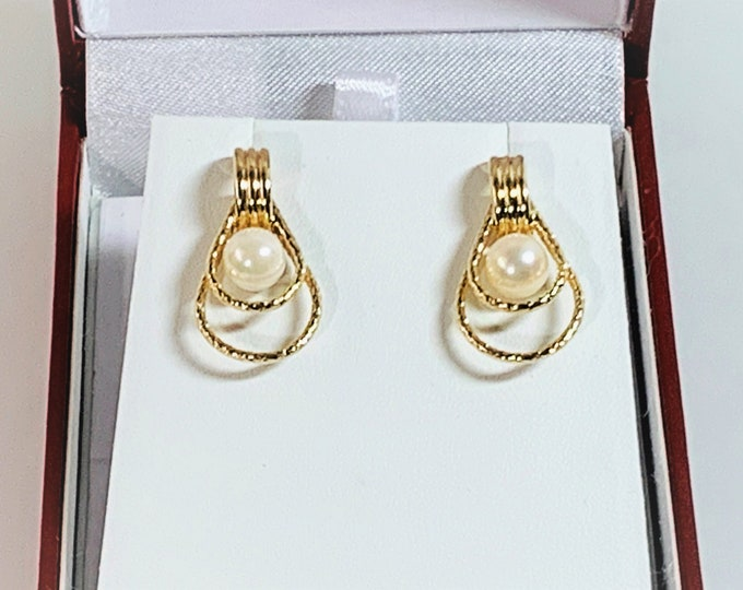 14K Yellow Gold & Cultured Pearls Drop Earrings, 6.5 mm White Akoya Pearls, 26 mm Drop, 3.40 Grams. Elegant Classic, Free US Shipping.