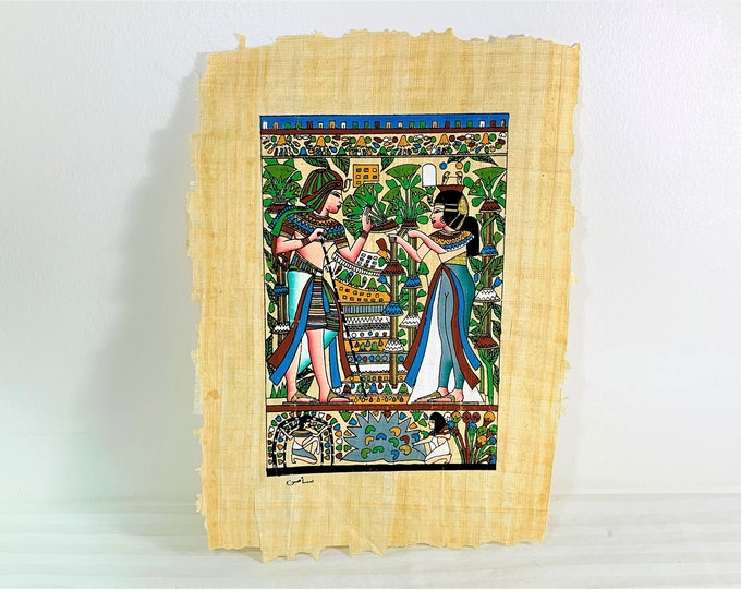 Vintage Hand Painted Egyptian Papyrus, King Tut and Queen Ankhesenamun, 12 X 9 inch  - 30 X 23 cm.