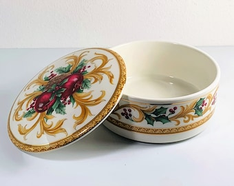 """Mikasa Holiday Orchard Fine Bone Porcelain Trinket Box, UT075/683 Japan, 5"""" Round, Very Colorful, Mint Condition, Free US Shipping."""