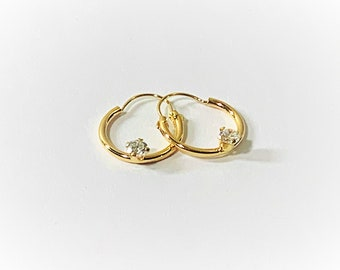 """14K Yellow Gold Small Hoop Earrings, Accented with 3mm round CZ, 1/2"""" Wide, 3/4"""" Drop. Refinished. Free US Shipping."""