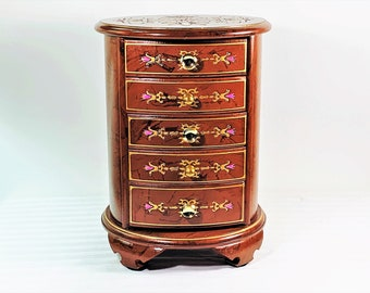 """Vintage 1960's Toyo Japan Enameled Jewelry Armoire, Round Shape Tower, 5 Drawers, Chenille Fabric Lining, 11"""" T. 8.5"""" D. Free US Shipping."""