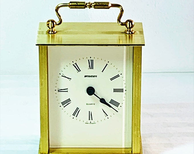 """Staiger Carriage All Brass West Germany Mantel Clock. Serviced & Tested, 5.5"""" T. 3.5"""" W. Back Door. Great Condition, Free US Shipping"""
