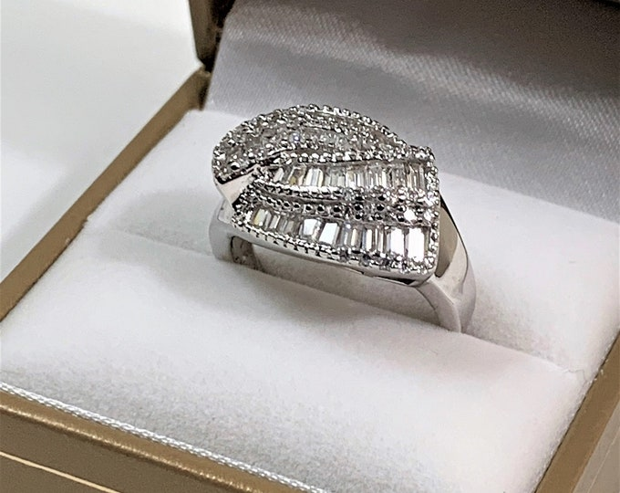 Sterling Silver & Rhodium Glamorous Cocktail Ring, Baguettes and Round Brilliant CZ, Hand Set Stones, Size 8 1/4