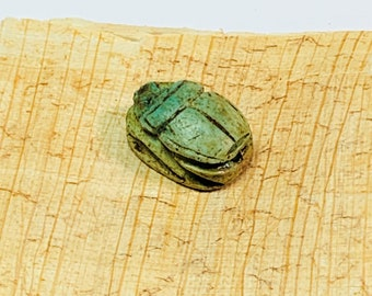 Vintage Ancient Egyptian Faience Ritual Scarab Amulet, Valley of The Kings, Luxor - Upper Egypt, 18 mm, Beautiful Amulet