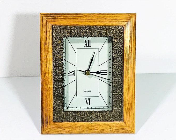 "American Walnut Custom Mantel Clock, Ornate Bronze Inner Frame, Precision Quartz, 7.5"" T. 6"" W. Large Dial. Restored. Free US Shipping."