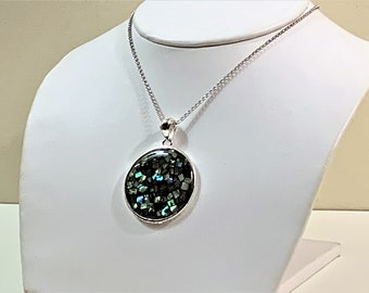 """Sterling Silver Large Colorful Abalone Inlay Round Slide with 20"""" Rolo Chain, 32mm - 1 1/3"""" Diameter, Beautiful Necklace"""