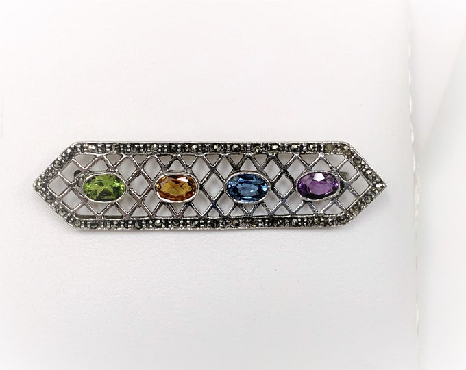"""Vintage Sterling Multi Gemstone and Marcasite Brooch, Amethyst-Blue Topaz-Citrine and Peridot 7X5 mm, 2 1/2"""" Long, 5/8"""" Wide, Precious"""