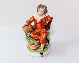 """Vintage 1950s Lefton China Hand Painted Red Boy KW 3988 Bisque Figurine Japan, Signed, 6' T. 4"""" W. Great Condition, Free US Shipping."""