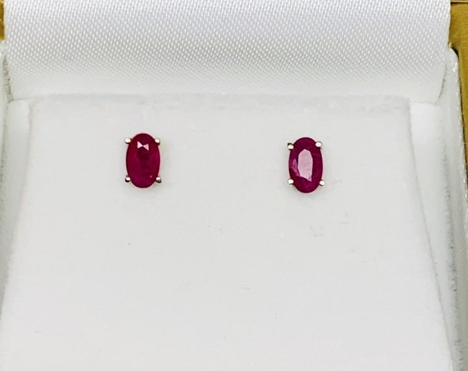 14K White Gold Natural Ruby Studs, Large Backs, High Grade Deep Red Ruby (Burma), Oval Cut 5 X 3mm, .64 Carat TW. Free US Shipping.