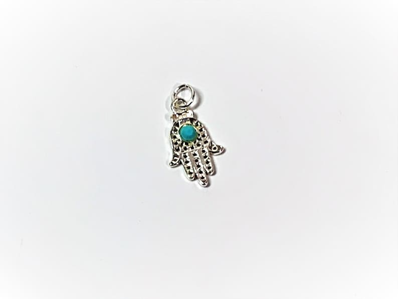 22 X 11.5 mm Filigree with Blue Turquoise Defense Against the Evil Eye A Universal Sign of Protection, Sterling Silver Hamsa-Khamsa