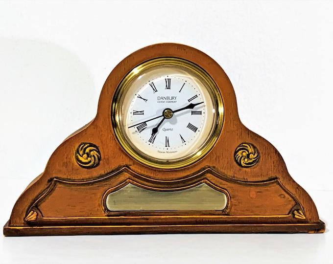 "Vintage Danbury Clock Company Heavy Mixed Rocks Resin & Brass Mantle Clock, Top Grade Taiwan Quartz Movement. 7.5"" W. 4.5"" T. Restored"