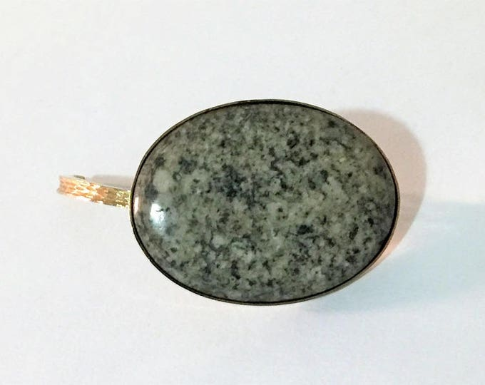 Vintage Very Unique Scarf Enhancer - Brooch, Large Oval Cabochon Snowflake Obsidian, Gold Tone, Secure Closure 44 x 30 mm