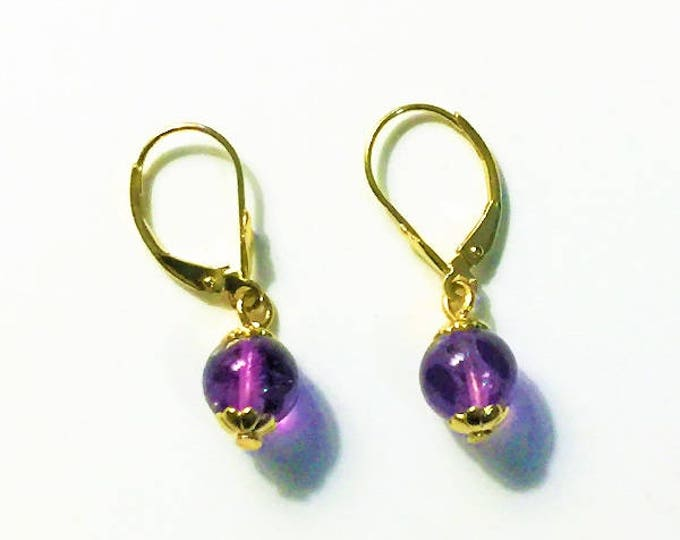 """14K Yellow Gold Amethyst Dangle Earrings, 8mm Purple Amethyst Gemstone Beads, 14K Fleur de Lis Lever Backs, 1"""" long. Free US Shipping."""