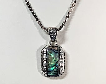 """FAS Italy Sterling Silver Designer Necklace, Large Unique Drop Pendant 1.75"""" L, Inlaid Colorful Abalone, 20"""" Beaded Rope Chain, Antiqued."""