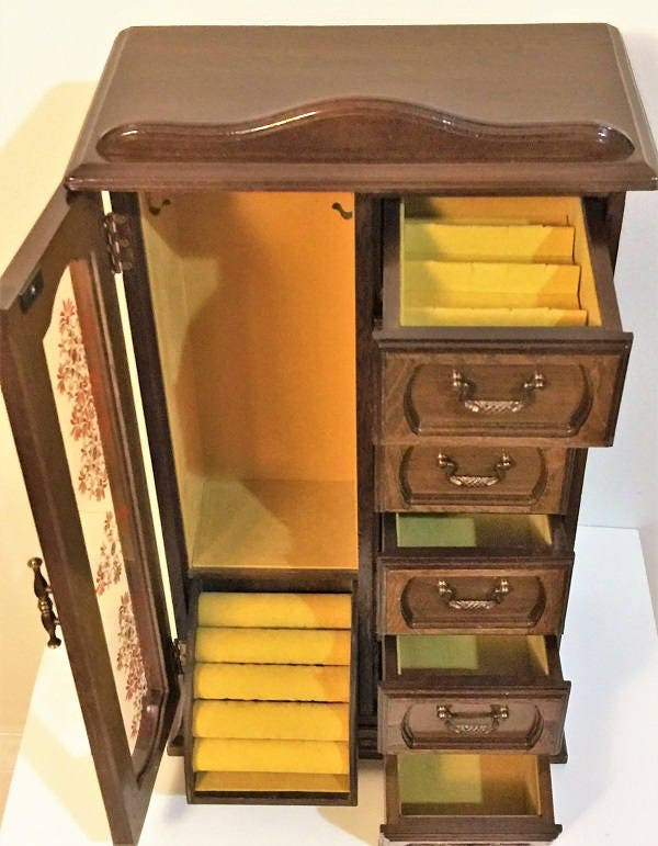 Vintage Hand Made Armoire Large Jewelry Cabinet Storage