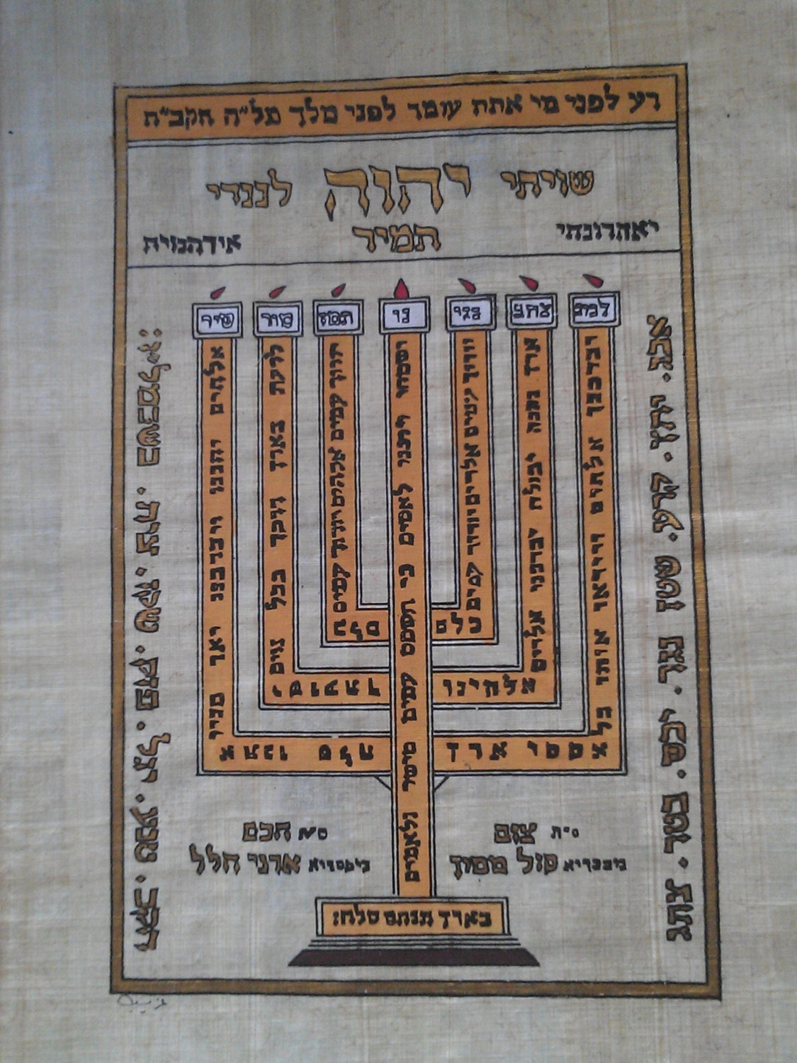 13 x 10 inch The Menorah 33 X 25 cm Vintage Hand Painted Egyptian Papyrus