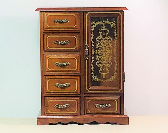 """Vintage Linden Fine Wood Musical Jewelry Armoire, 13"""" T. 9.75"""" W, 6 Drawers, Swirly Hangers W/Padded Walls, Artistic Door, Free US Shipping."""