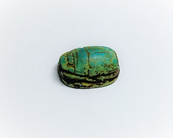 Vintage Ancient Egyptian Faience Ritual Scarab Amulet, Valley Of The Kings, West Thebes - Luxor, Upper Egypt, 17 mm. Superb Amulet.