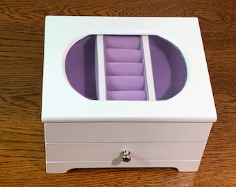 """Vintage Fine Wood Designer Jewelry Box, Hinged Lid with Glass Window, Purple Lining, Ring Section, Drawer. 7"""" W. 5.5"""" L. Free US Shipping."""