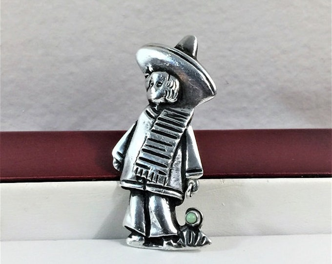 """Sterling Silver & Green Jade Unique Brooch, A Standing Boy In Sombrero and Poncho, Amazing Old School Craft. 2"""" T, 3/4"""" W. Free US Shipping."""