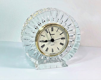"""Staiger Germany """"Sun Shine"""" Fine Austrian Lead Crystal Mantel Clock, 5"""" Diameter, 1 1/2"""" D, Mint Condition. Free US Shipping."""