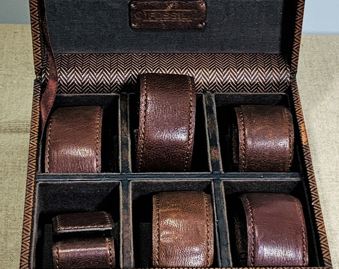 """Vintage Fossil Leather Watch Storage Case, Wood Structure, 6 Compartments, Solid & Rugged Case, 7 X 6.5"""". 3.5"""" H. Free US Shipping."""