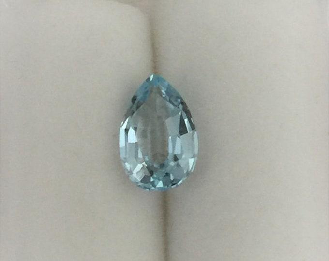 Aquamarine Loose Gemstone, Natural Untreated Gem, Pear Shape 8 X 5 mm, .98 carat, Aqua Blue, Brazil