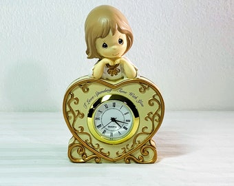 """Precious Moments Little Clock, """"I Love Spending Time With You"""", 1.5"""" Dial, Hand Painted Resin. Works Nicely, 4.5"""" T. 3"""" W. Free US Shipping."""