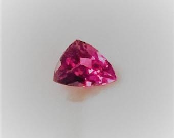 Natural Hot Intense Pink Tourmaline, Custom Unique Trillion Cut Loose Gemstone, 6.8- 6.1 X 5 mm, .64 carat, Brazil
