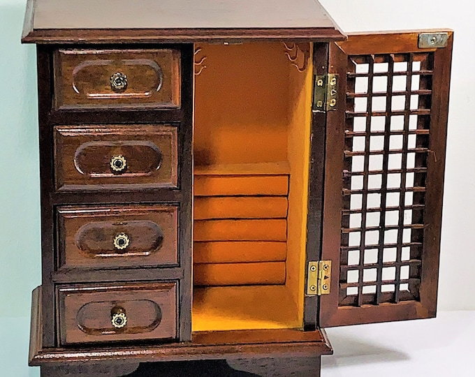 """1960's Himark® Rosewood Jewelry Armoire, Carved Wood Screen Door, Hangers on Padded Walls, Rings Tray, 4 Drawers, 11.5"""" T. Free US Shipping."""