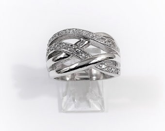 Sterling Silver Pave Set CZ Braided Wide Top Ring, 13.50 mm Wide, Size 8, A Statement Ring, 8.20 Grams