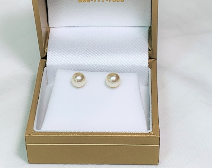 Vintage Akoya Cultured Pearls Studs, 6mm Perfect Round, White with Rosé Overtones, Grade AA Bright Luster, 14K Yellow Gold. Classic