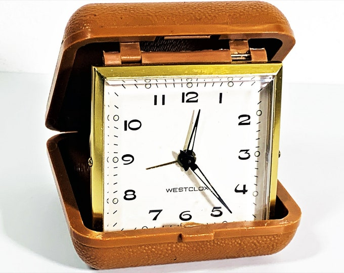 "Vintage Westclox Germany Wind-up Mechanical Travel Alarm Clock, Hard Folding Case - 3"" Square, Serviced, Free US Shipping."