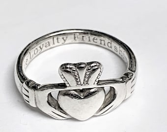 """Sterling Silver Irish Claddagh Ring, Beautiful Details, """"Love Loyalty Friendship"""" Inside the Shank, Size 6.5, 3.60 Grams, Ireland"""