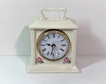 """Vintage Porcelain Floral Carriage Clock, Roses on All Sides, Hand Made in Taiwan. Precision Quartz. 5.5"""" T. 4.75"""" W. Works, Free US Shipping"""