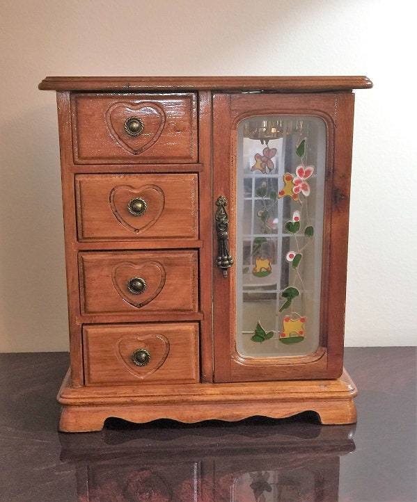 Vintage Hand Made Small Armoire Jewelry Cabinet Box