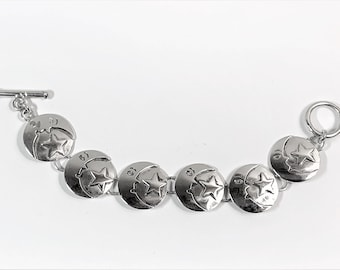 """Vintage Sterling Silver Moon and Star Bracelet, 3D Domed Disks, Toggle Clasp, 7"""" long, 27.40 Grams. Unique."""
