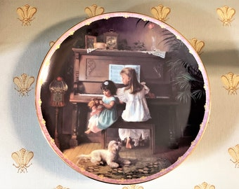 """Melodies Remembered, Limited Edition 1997 Collectible Plate By Greg Olsen. No. 6384A. 8"""" Diam. Wood Stand Included, Free US Shipping"""