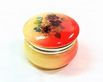 "Florentia Genuine Italian Red & Honey Alabaster Small Trinket-Jewelry Box, Hand Made, Hinged Lid, Round Shape 3"" Diameter, 2"" High. 1980's"