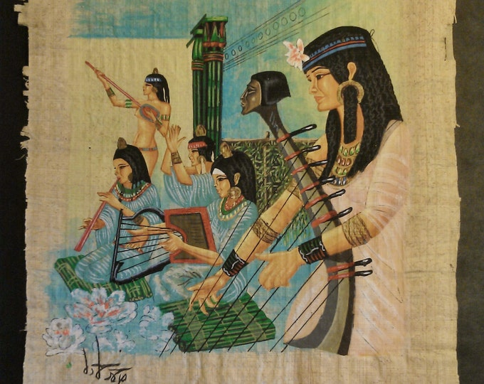 Vintage Hand Painted Egyptian Papyrus, Egyptian Daily Life, Pencil and Brush - Gouache,  15.50 X 11 inch. 40 X 30 cm  (Sale Price)