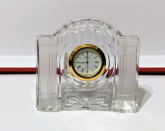 """Mikasa 'Cotillion Frost' Fine Crystal Clock, 4"""" wide, 3 3/4"""" High, Mint Condition - Works Perfectly, Free US Shipping"""