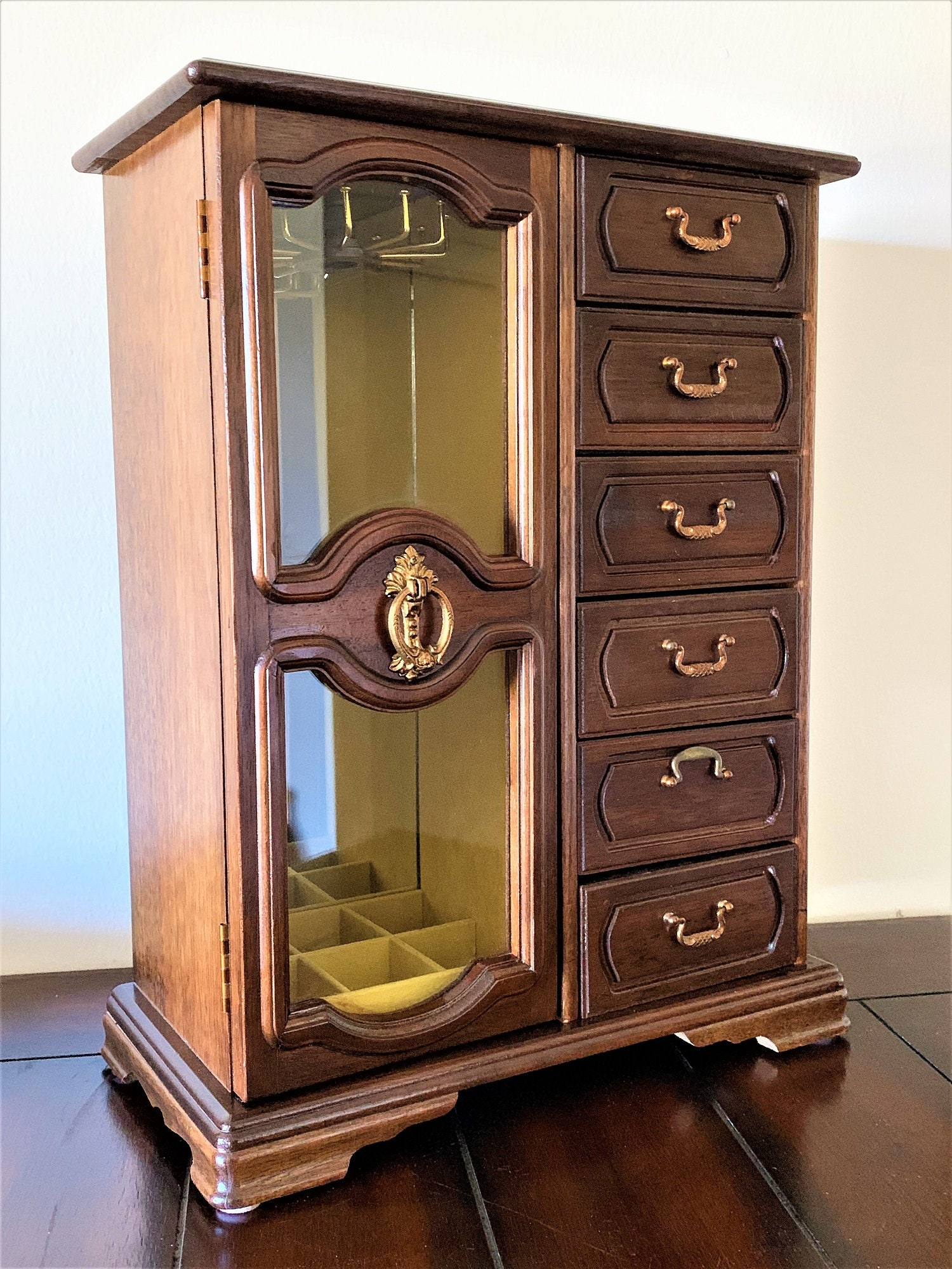 Vintage Solid Wood Jewelry Cabinet-Armoire, Musical ...