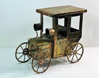 "Tiajuana Taxi, Vintage 1960's Bronze Art Music Box, Hand Crafted Masterpiece, Sankyo Music, Hong Kong Made, 8.5"" L. 7"" T. Free US Shipping."