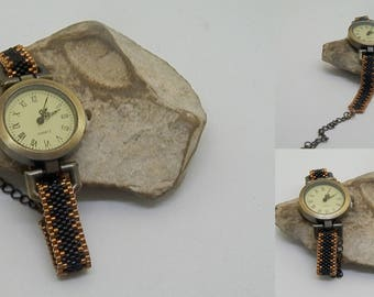 Weaving black and bronze watch