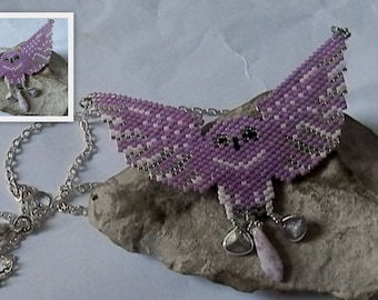 """woven pink and silver """"OWL"""" necklace"""