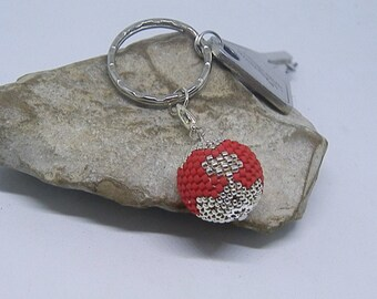 Bead woven red and Silver Needle Keyring