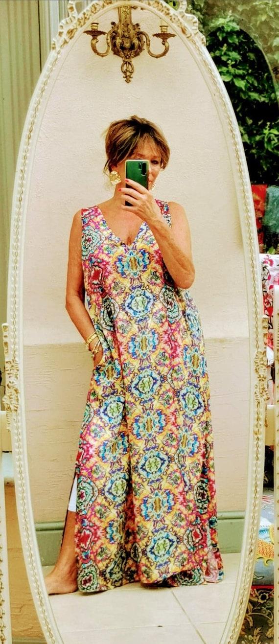 tie dye maxi kaftan dress in beautiful soft silk crepe finished with crystals by Kaftan Heaven Sofia
