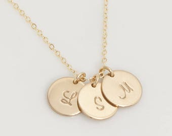 1,2,3,4,5,6 Initial Disc Charm (9.5mm) Necklace, Sterling Silver, Gold Filled, and Rose Gold disk Personalized Necklace