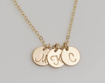 1,2,3,4,5,6 Initial Disc Charm (7mm) Necklace, Sterling Silver, Gold Filled, and Rose Gold disk Personalized Necklace